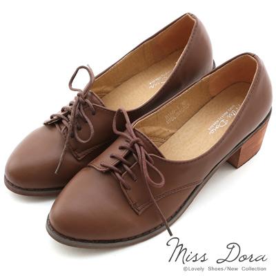 Miss-Dora-小資女孩-綁帶粗跟牛津鞋-咖