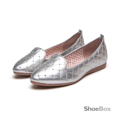 鞋櫃ShoeBox 甜美仙子經典菱格紋平底樂福鞋-亮眼銀