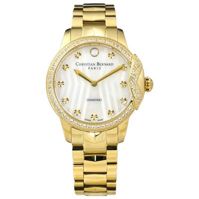 CHRISTIAN BERNARD 伯納錶 白剛玉真鑽珍珠母貝不鏽鋼手錶-鍍金/34mm