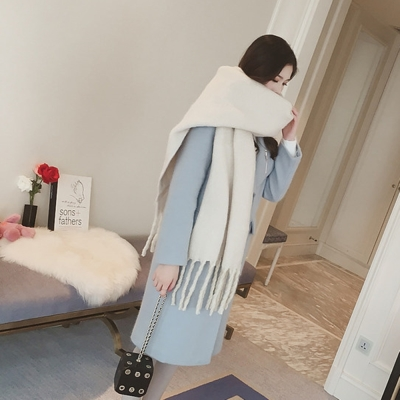 梨花HaNA-韓國冬日暖陽純色優雅長流蘇羊絨超厚長圍巾米白