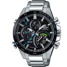 EDIFICE飛機儀表設計GMT賽車藍芽錶(EQB-501XDB-1A)-黑x藍針/48.7mm