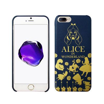 迪士尼授權 夢遊仙境 iPhone 8 Plus/ 7 Plus 燙金皮革手機殼...