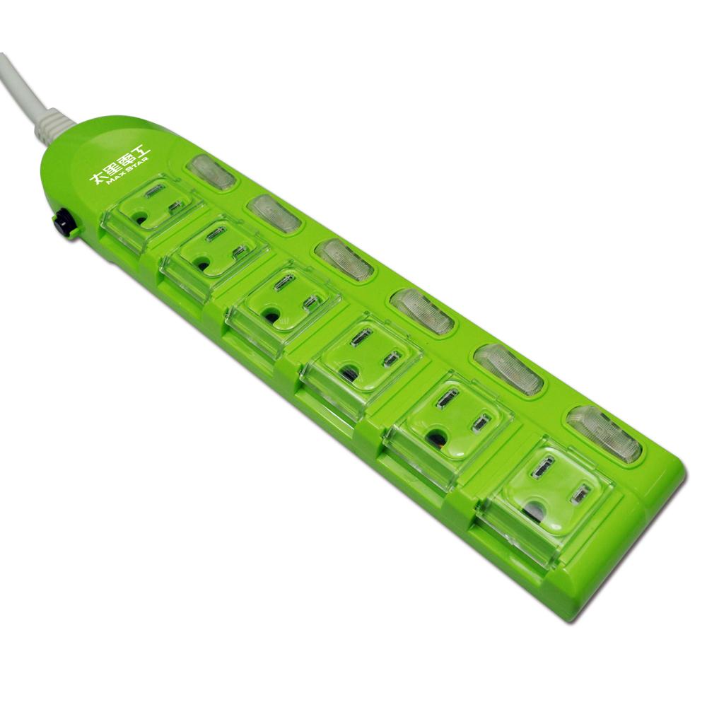 蓋安全 彩色電腦線六開六插((3P15A6尺))橙/紅/綠 OC66306