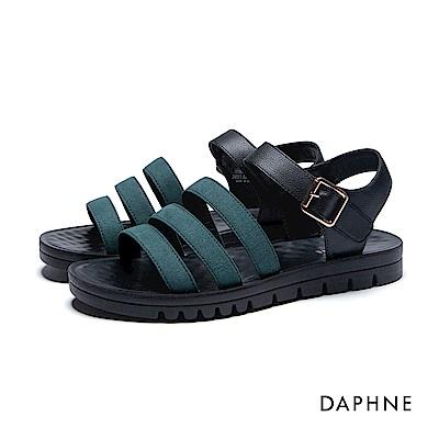 達芙妮DAPHNE 涼鞋-三層條帶按摩顆粒撞色平底涼鞋-墨綠