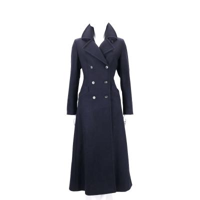 Max Mara-WEEKEND 深藍色雙排釦長版羊毛大衣(90%WOOL)