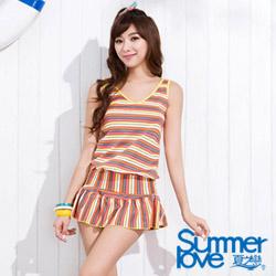 SUMMERLOVE 夏之戀 陽光條紋褲裙兩件式泳衣