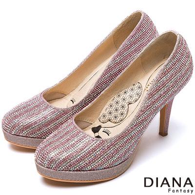 DIANA 超厚切LADY款--粉彩鑽飾亮眼晚宴跟鞋-粉