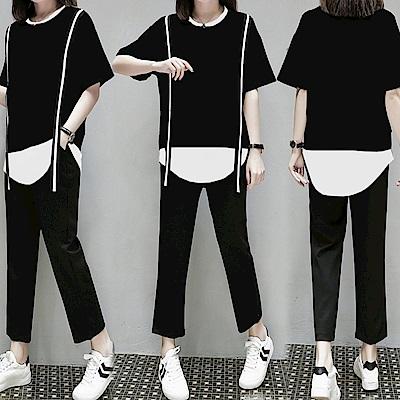 中大尺碼黑白背帶拼接假兩件下擺上衣哈倫褲套裝XL~4L-Ballet Dolly
