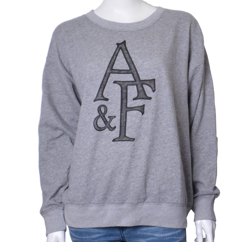 A&F Abercrombie & Fitch 大LOGO寬版長袖純棉T恤-淺灰
