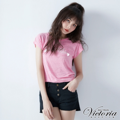 Victoria 黑色純棉排釦短褲-女-黑色