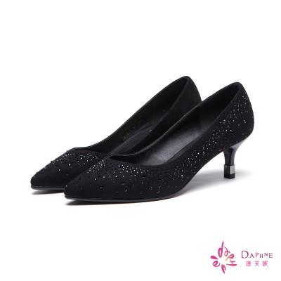 達芙妮DAPHNE-高跟鞋-小V剪裁水鑽絨布尖頭鞋