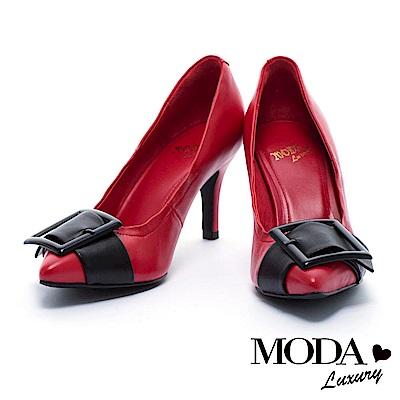 高跟鞋 MODA Luxury 摩登方型帶釦飾造型羊皮尖頭高跟鞋- 紅