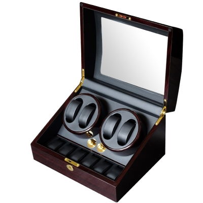 PARNIS BOX 自動上鍊盒4+6 日本馬達 碳培咖鋼琴烤漆 收藏錶盒 自動08-EB
