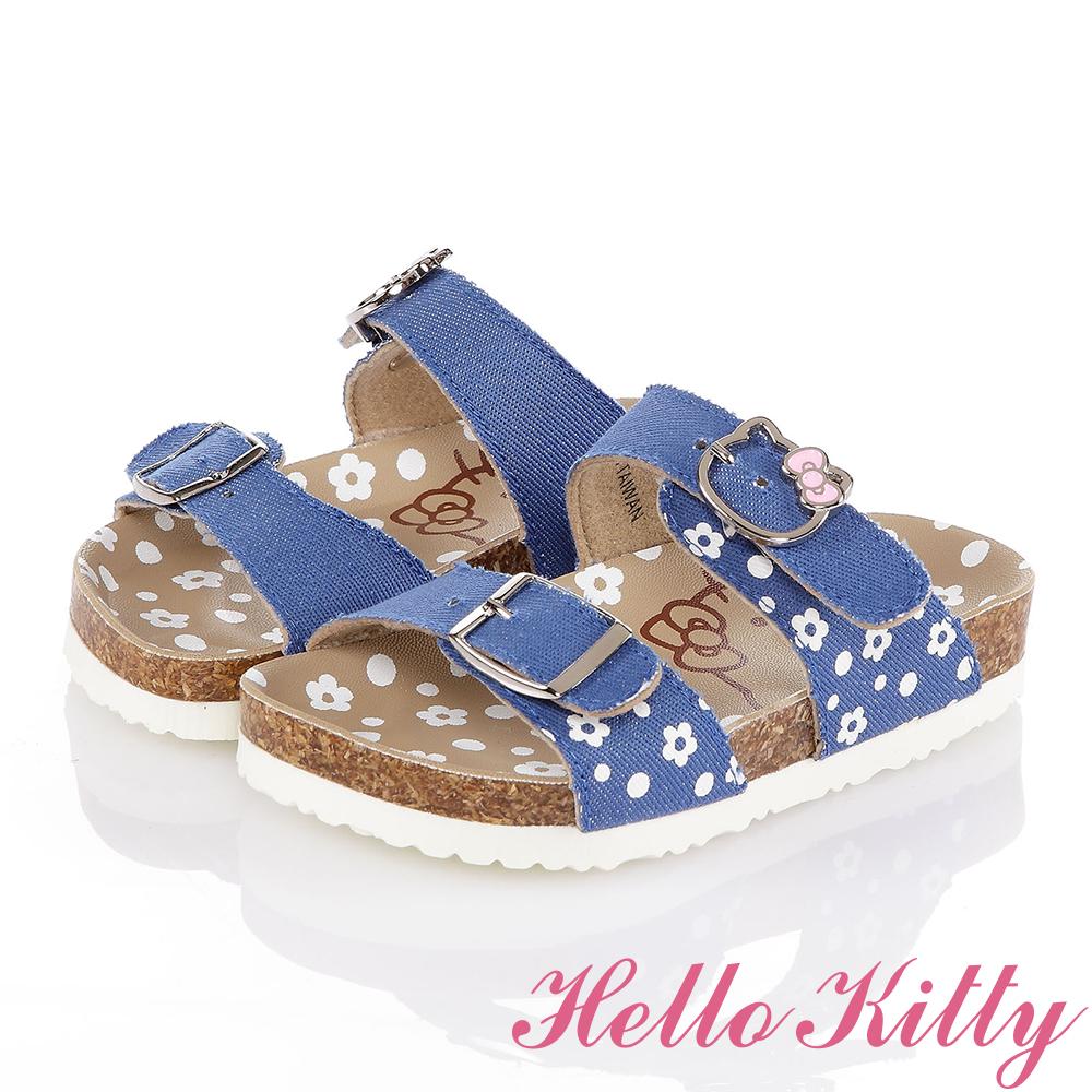 HelloKitty 牛仔布系列 花朵舒適吸震防滑休閒拖鞋童鞋-水