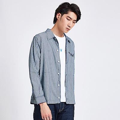 EDWIN 築地系列條紋口袋襯衫-男-丈青