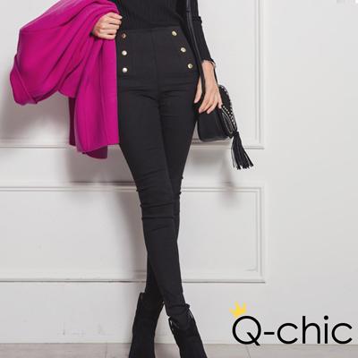 英倫風金屬排扣高腰窄管褲-共二色-Q-chic