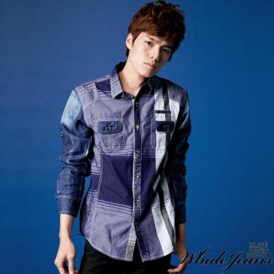WHALE JEANS 男款魅力單寧拼接配色棉質襯衫(2色)