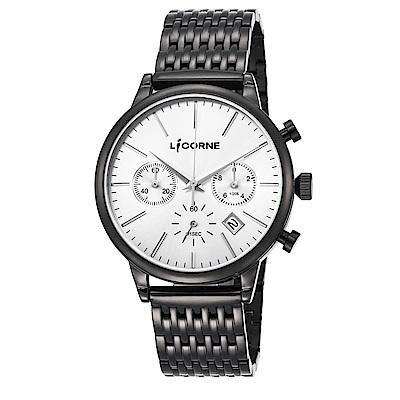 LICORNE力抗錶 經典時尚風格三眼計時手錶 銀x黑/43mm
