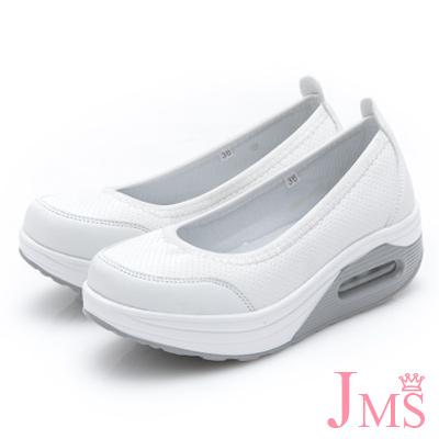 JMS-休閒舒適柔軟輕量厚底懶人鞋-純色白
