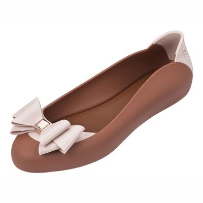 MELISSA 雙層蝴蝶結撞色娃娃鞋-褐/粉