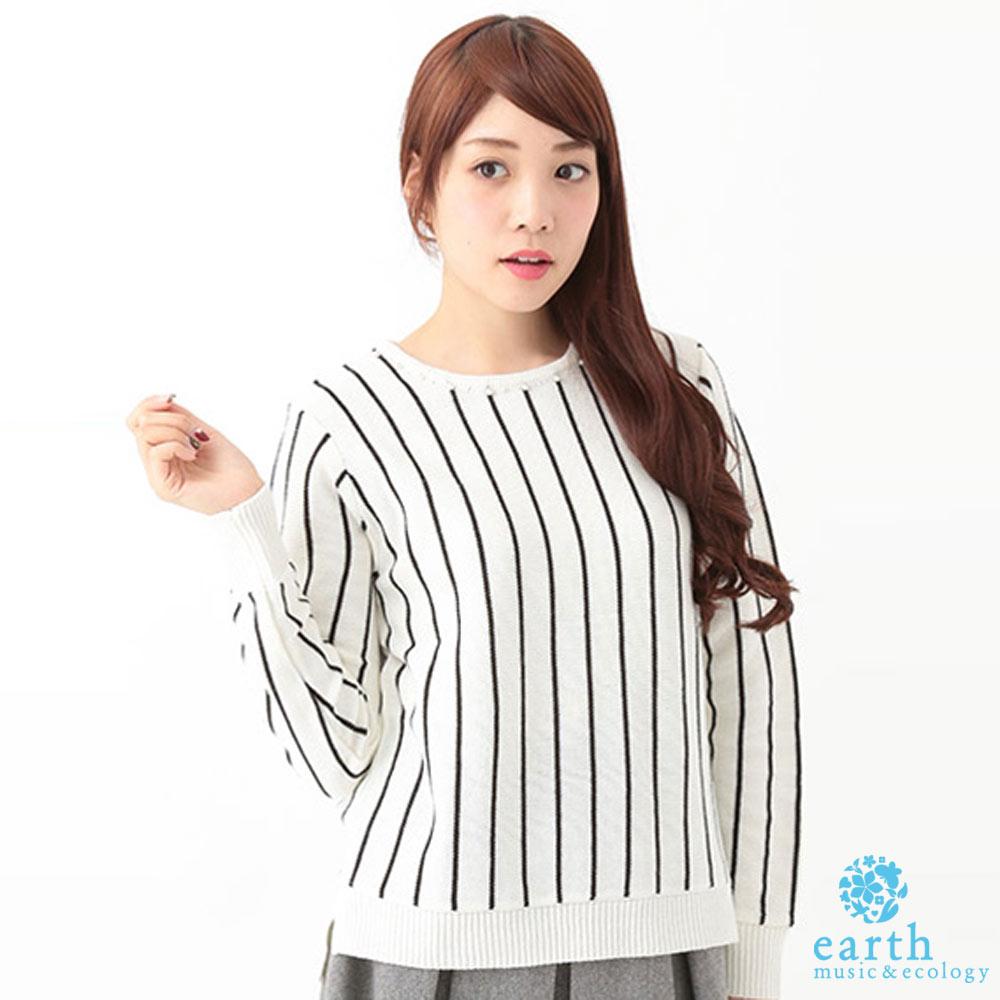 earth music&ecology 珍珠領飾條紋針織上衣