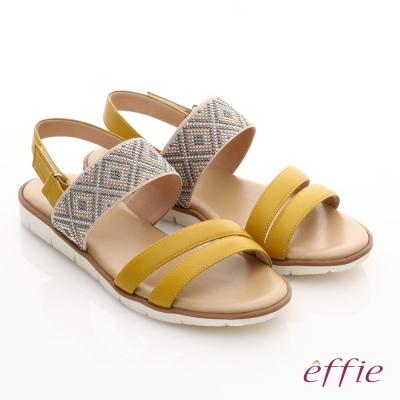 effie 嬉皮假期 真皮串珠魔鬼氈涼拖鞋 黃色