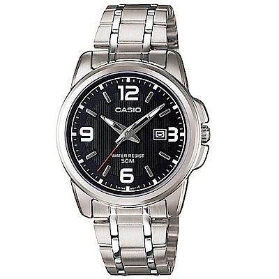 CASIO 簡約經典時尚指針日曆腕錶(LTP-1314D-1)黑面/33mm