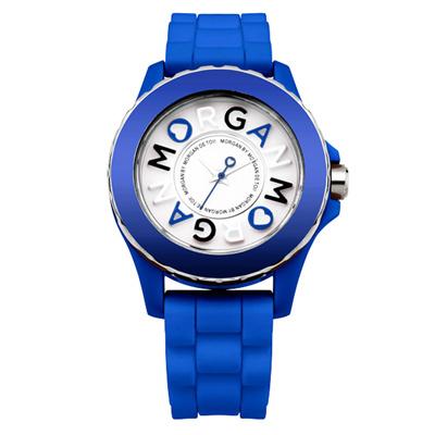MORGAN 活潑跳躍雙層時尚腕錶-藍/40mm