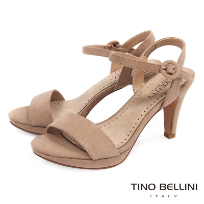 Tino Bellini 纖細性感繫踝高跟涼鞋 _粉膚