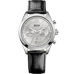 HUGO BOSS 優質型男三眼計時腕錶-銀/40mm