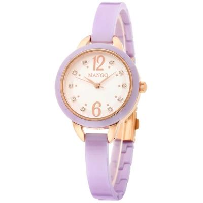Mango 可愛甜心晶鑽陶瓷腕錶-紫色/玫瑰金-30mm