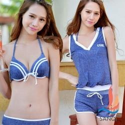 SANQI三奇 夏日甜美 四件式鋼圈比基尼泳衣(藍M~XL)