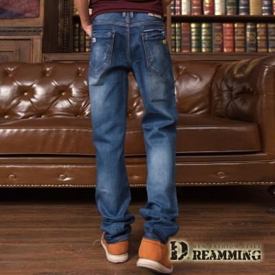 Dreamming 水洗刷白抓痕伸縮修身直筒牛仔褲