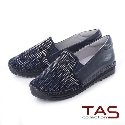 TAS 滿版漸層雙色水鑽內增高懶人鞋-星空藍