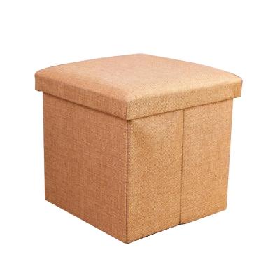 簡約麻布收納椅38x38x38cm(卡其)