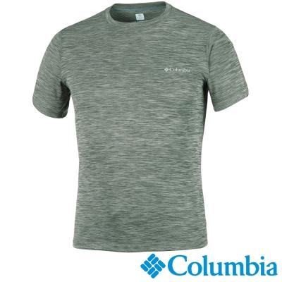 【Columbia哥倫比亞】男-酷涼快排防曬30短袖上衣-軍綠 UAE60840AG