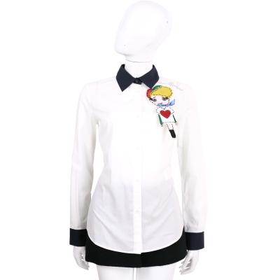LOVE MOSCHINO 白色女孩貼布圖騰棉質襯衫