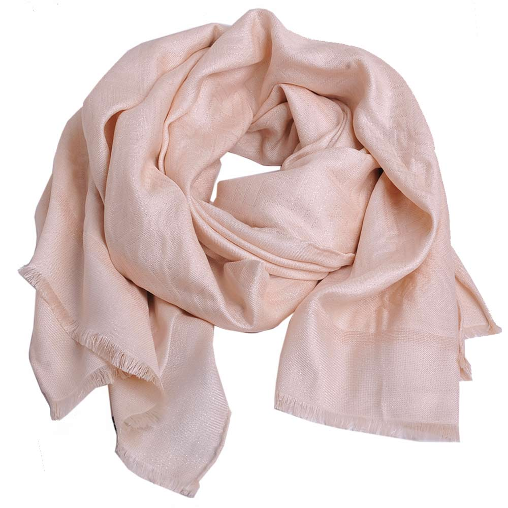 FENDI 經典FF LOGO高質感絲質造型披肩圍巾(粉紅色)