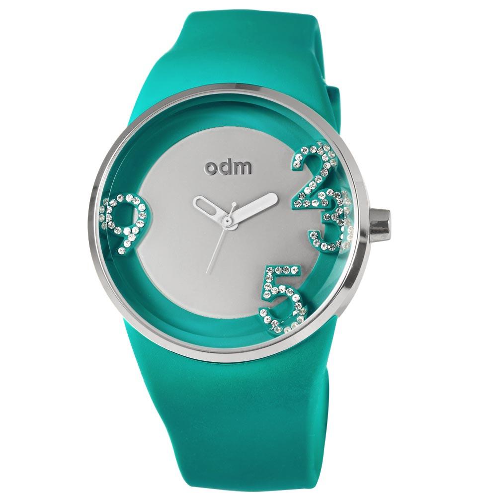 o.d.m. 暗戀晶鑽夜光潮流腕錶-藍綠/40mm