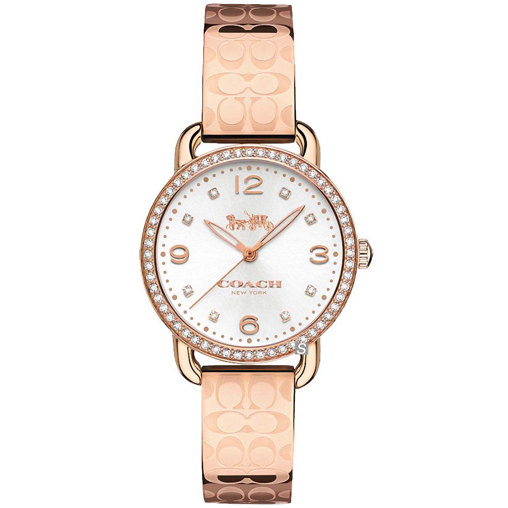 COACH Delancey 閃耀甜心時尚晶鑽手環錶(14502767)-玫瑰金/28mm