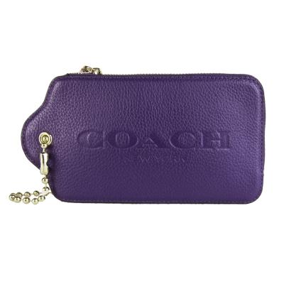 COACH-LOGO壓紋荔枝皮標造型皮革手拿包-紫
