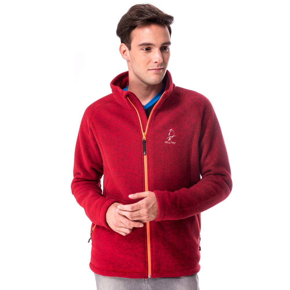 【hilltop山頂鳥】男款ZISOFIT保暖刷毛外套H22MU0紅