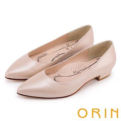 ORIN 率直簡約 素面柔軟羊皮尖頭粗低跟鞋-粉紅