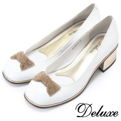 Deluxe-可愛方頭金鑽粗跟鞋-白