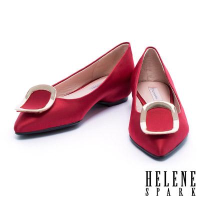 平底鞋 HELENE SPARK 質感弧形金屬方釦緞布尖頭平底鞋-紅