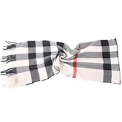 BURBERRY  100 %喀什米爾石灰色大格紋羊毛圍巾( 200 x 36 CM)