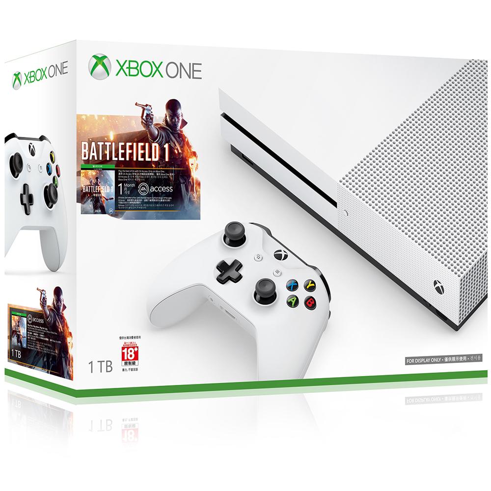 Xbox One S 1TB戰地風雲1同捆組軟體拆封無鑑賞期