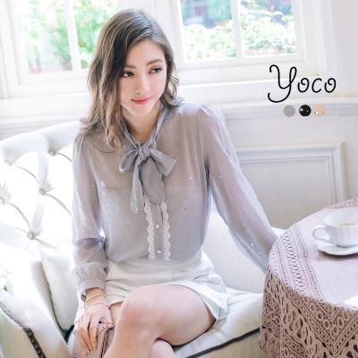 東京著衣-yoco 高貴星空雪紡立領襯衫-S.M.L(共三色)