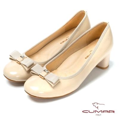 CUMAR粉領時尚 舒適鞋楦真皮高跟鞋-粉紅