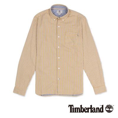 Timberland-男款黃金色格子紋路長袖襯衫